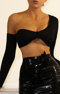 Black Asymmetrical One Shoulder Crop Top