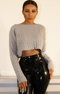 Grey Cropped Cable Knit Jumper