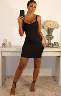 Black Cup Detail Bodycon Mini Dress