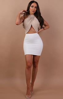 Beige Halter Neck Crop Top - Tabby