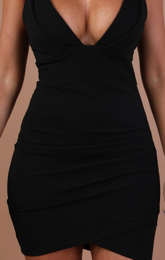 Black Double Strap Bodycon Dress – Adrianna