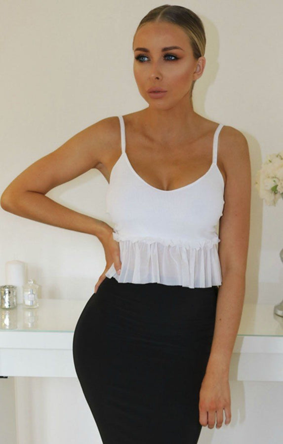 White Mesh Frill Hem Cami Crop Top