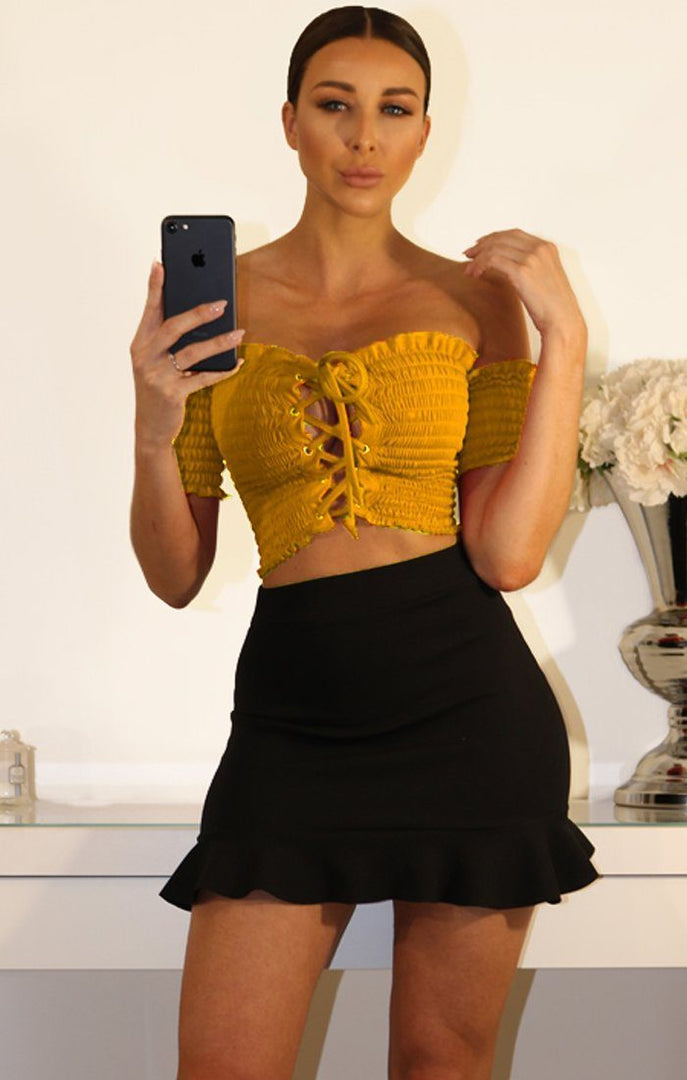 Mustard Lace Up Front Ruffled Crop Top