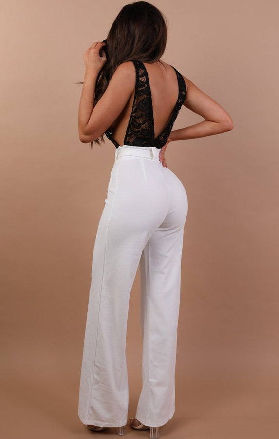 White Jumpsuit With Black Lace - Louella