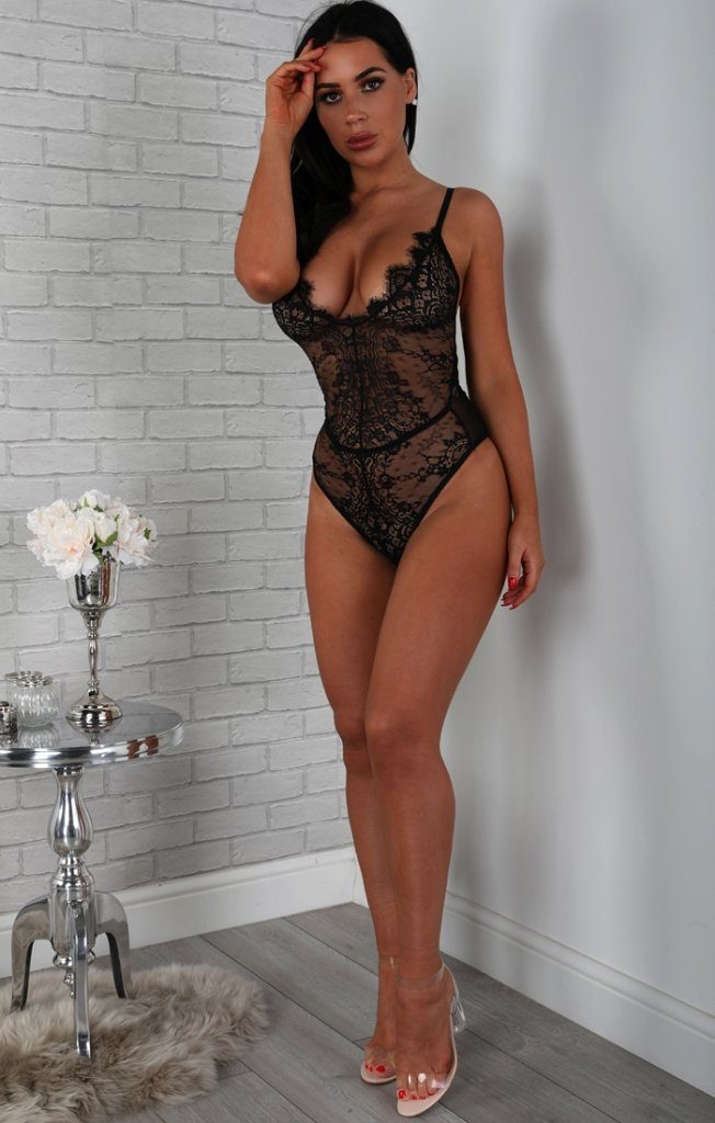Black Floral Lace And Mesh Bodysuit