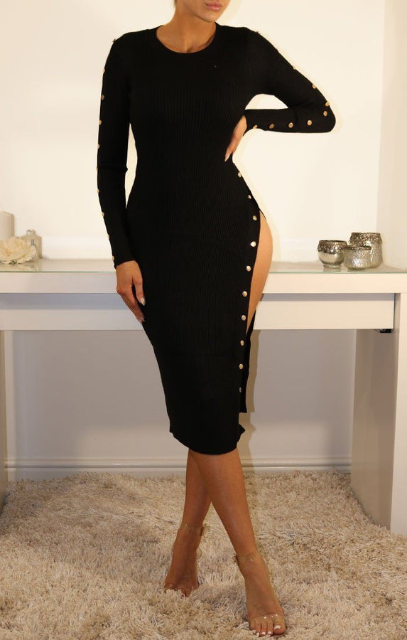 Black Ribbed Bodycon Maxi Dress