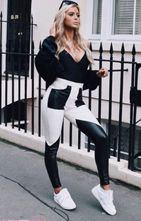 Black And White Patch Faux Leather Trousers - Devon