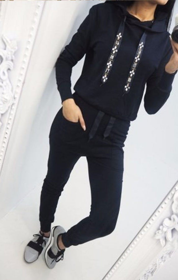 Black Jeweled Detail Loungewear Set - Serena