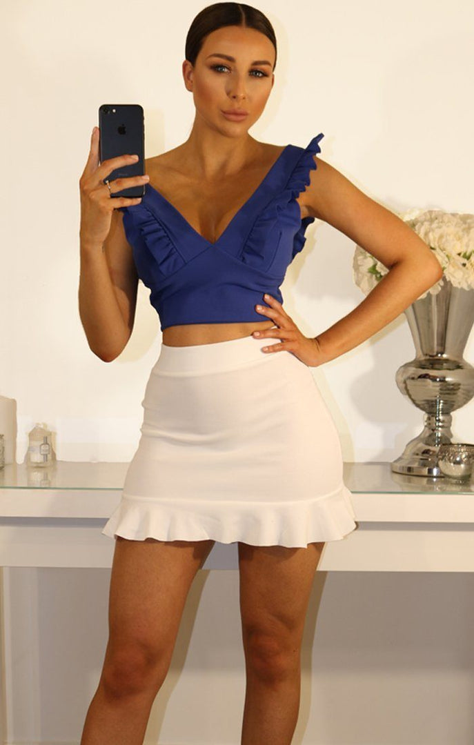 Blue Frill Sleeve Crop Top