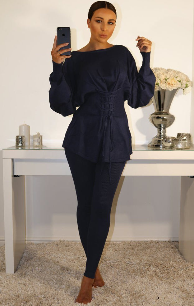 Navy Ribbed Corset Front Loungewear Set