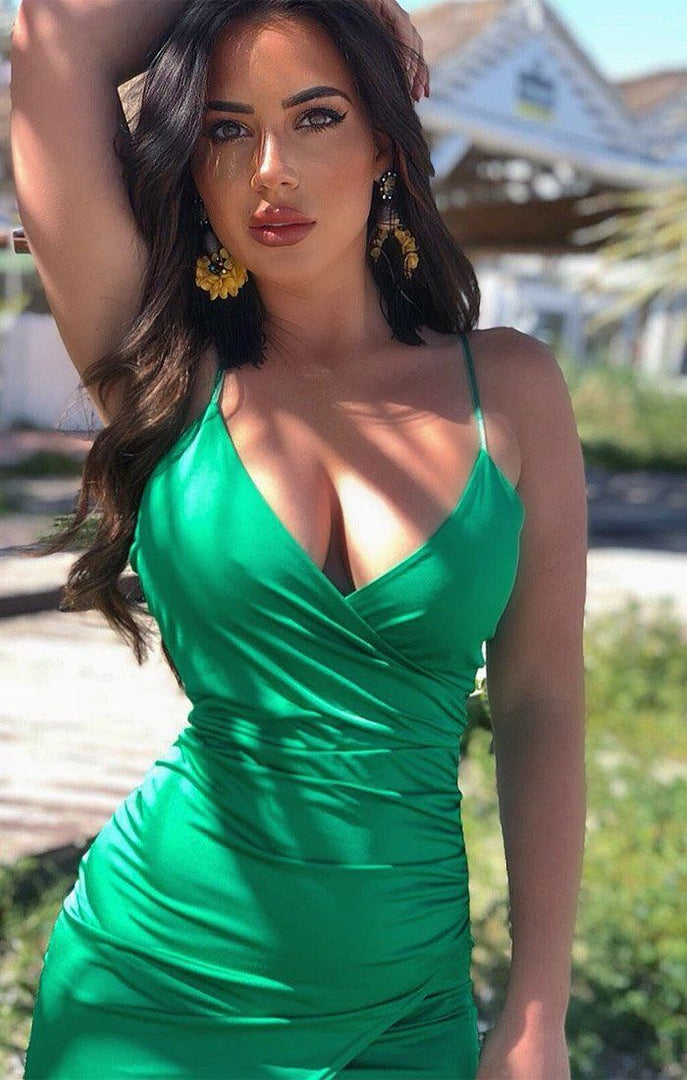 Green Wrap Effect Bodycon Dress - Gemma