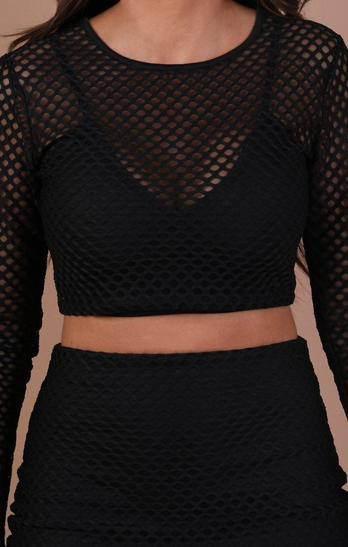 Black Mesh Fishnet Two Piece Co-ord Set – Amber