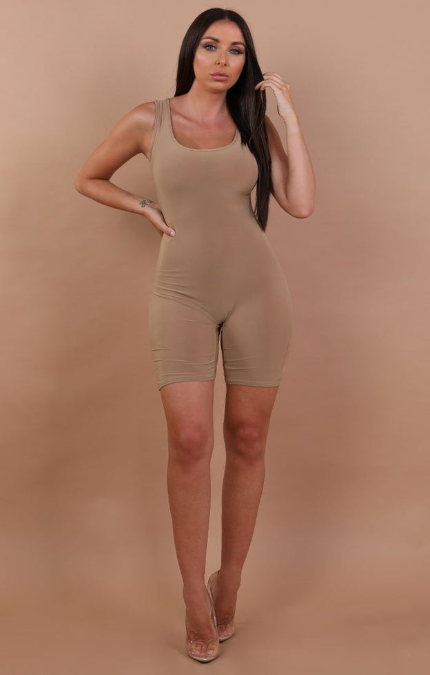Beige Basic Sleeveless Playsuit - Faith