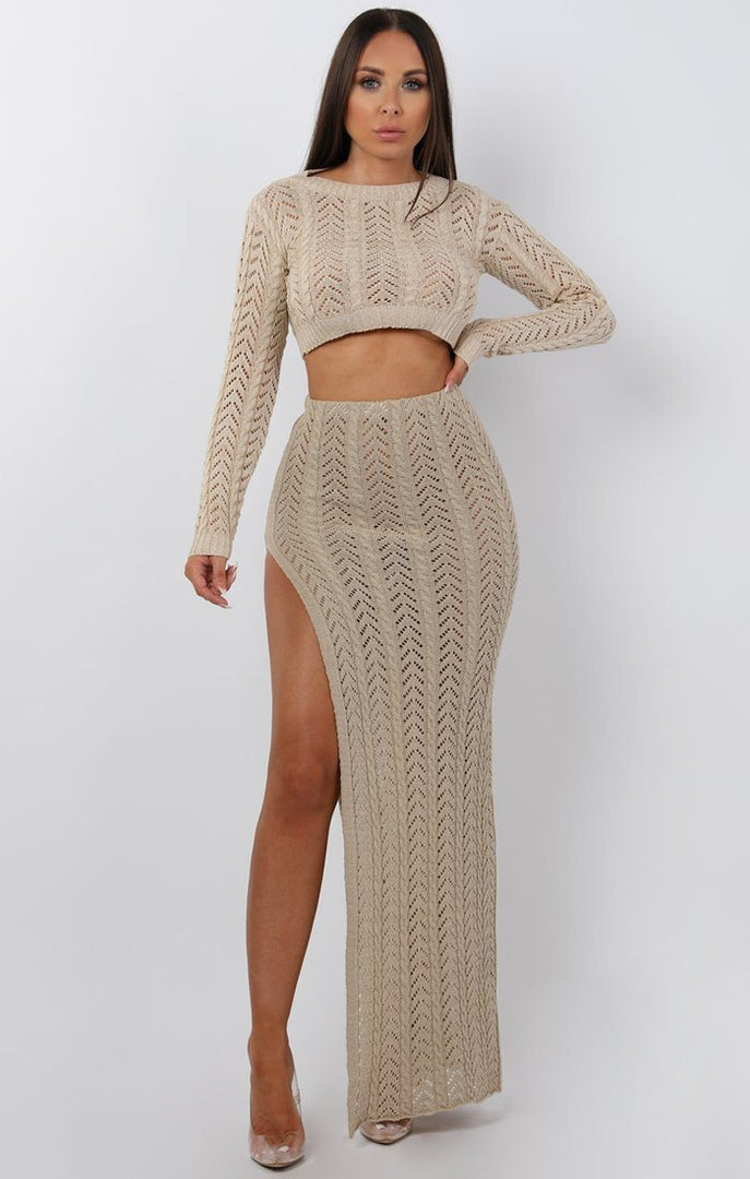 Beige Crochet Split Leg Maxi High Waist Skirt - Robin