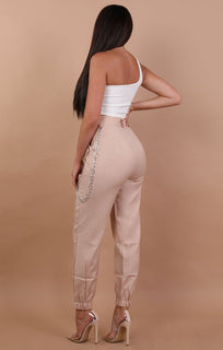 Beige Cuffed Chain Link Detail Trousers - Ashley