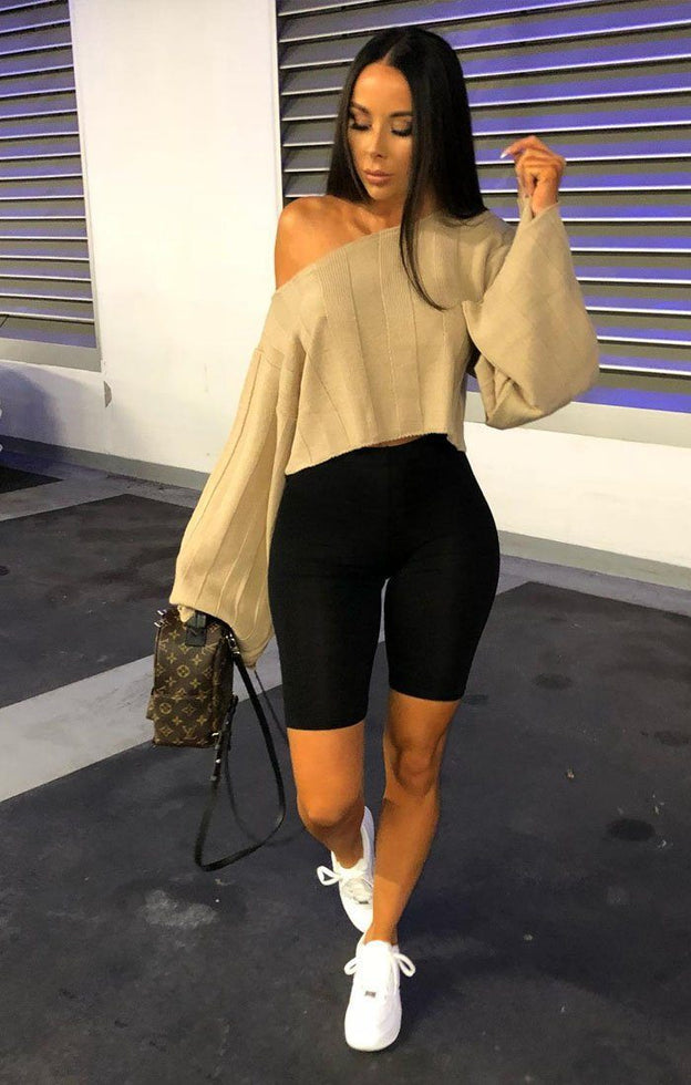 Beige Jumbo Ribbed Oversized Crop Jumper - Raven