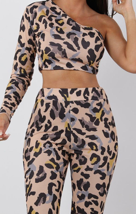Beige Animal Leopard Print One Shoulder Crop Top - Lola