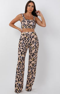 Beige Animal Leopard Print Two Piece Co-ord Set - Katie
