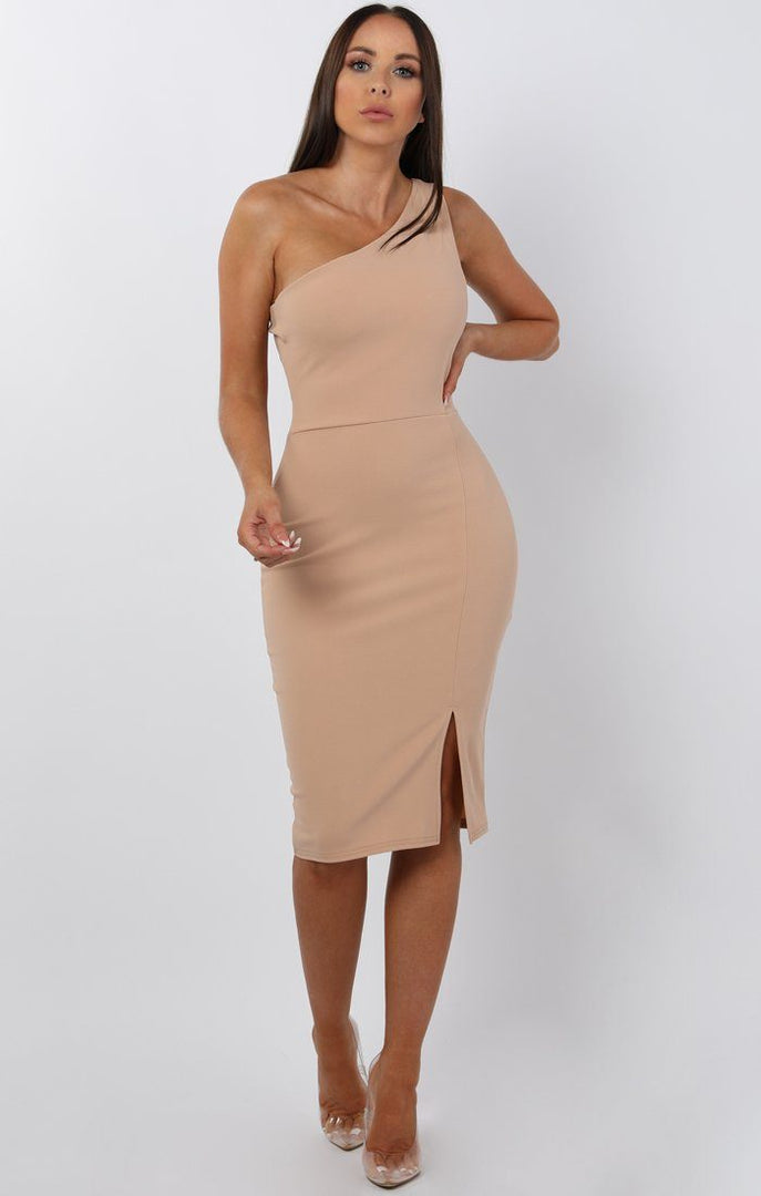 Beige One Shoulder Midi Dress - Sorcha