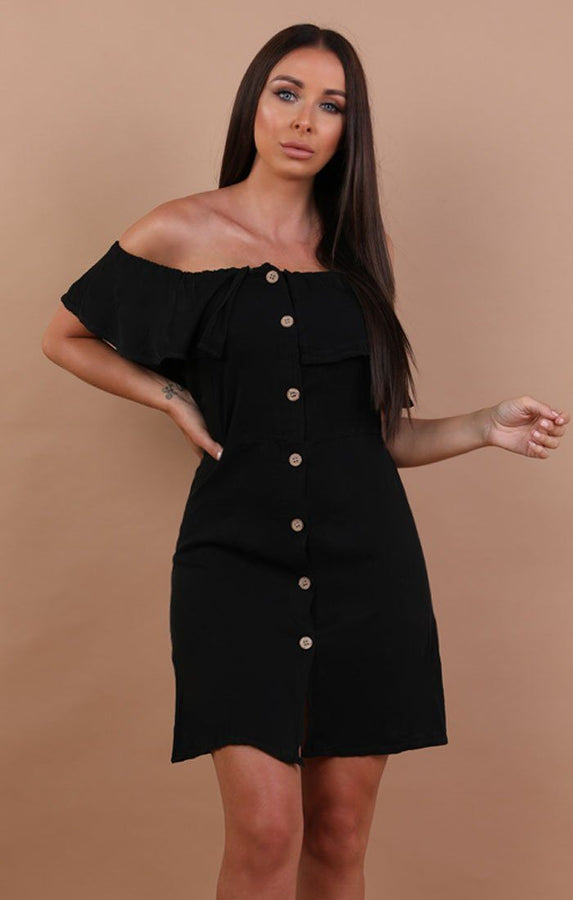 Black Barbot Button Up Tea Dress - Rebecca