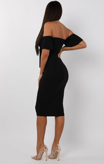 Black Bardot Bow Front Midi Dress - Effie