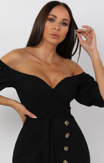 Black Bardot Button Belted Mini Dress - Sandra