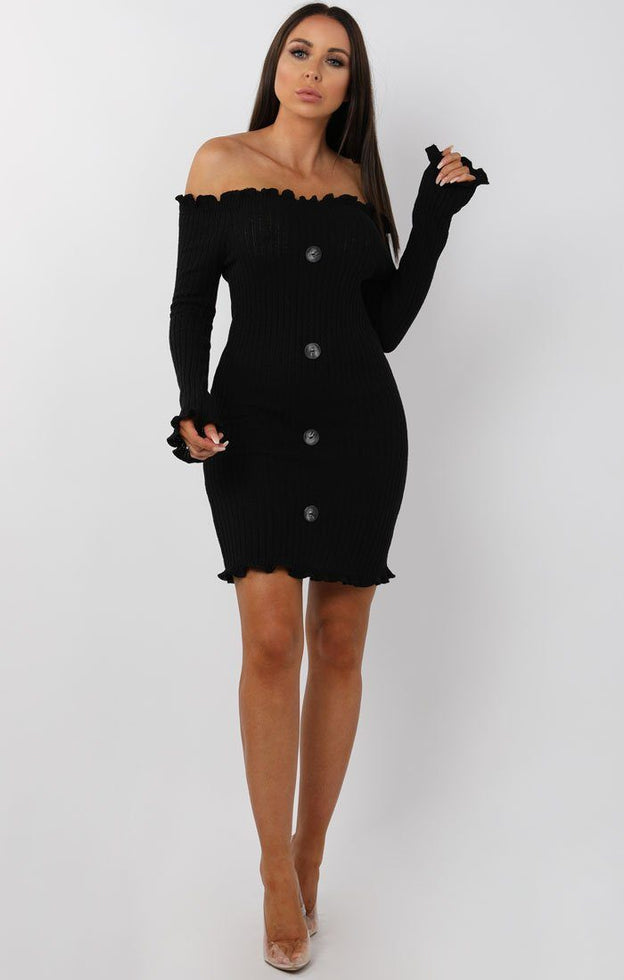 Black Bardot Frill Button Mini Dress - Trudy