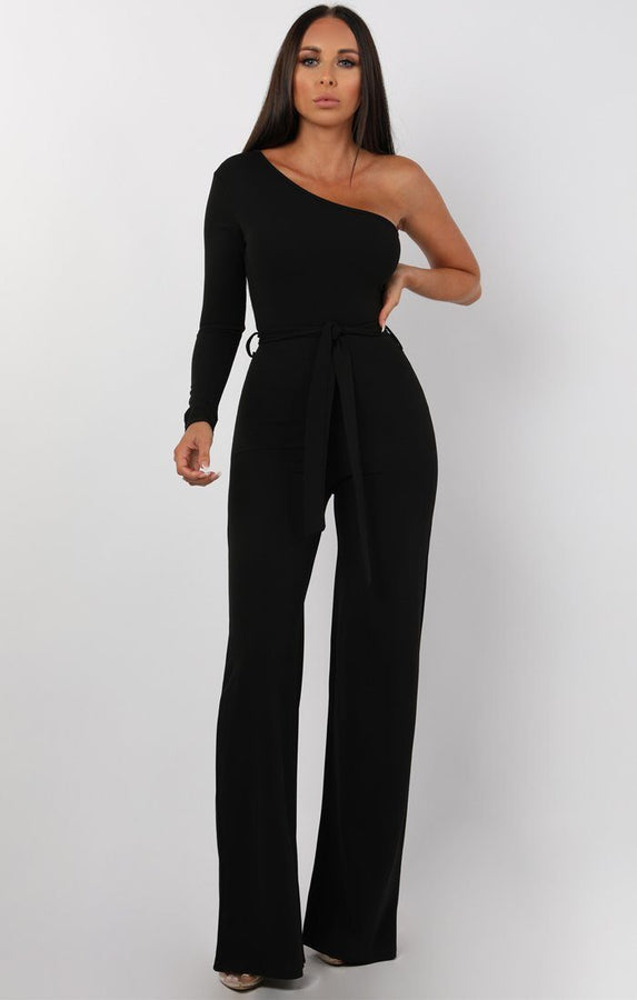 Black Belted One Shoulder Jumpsuit - Evelyn