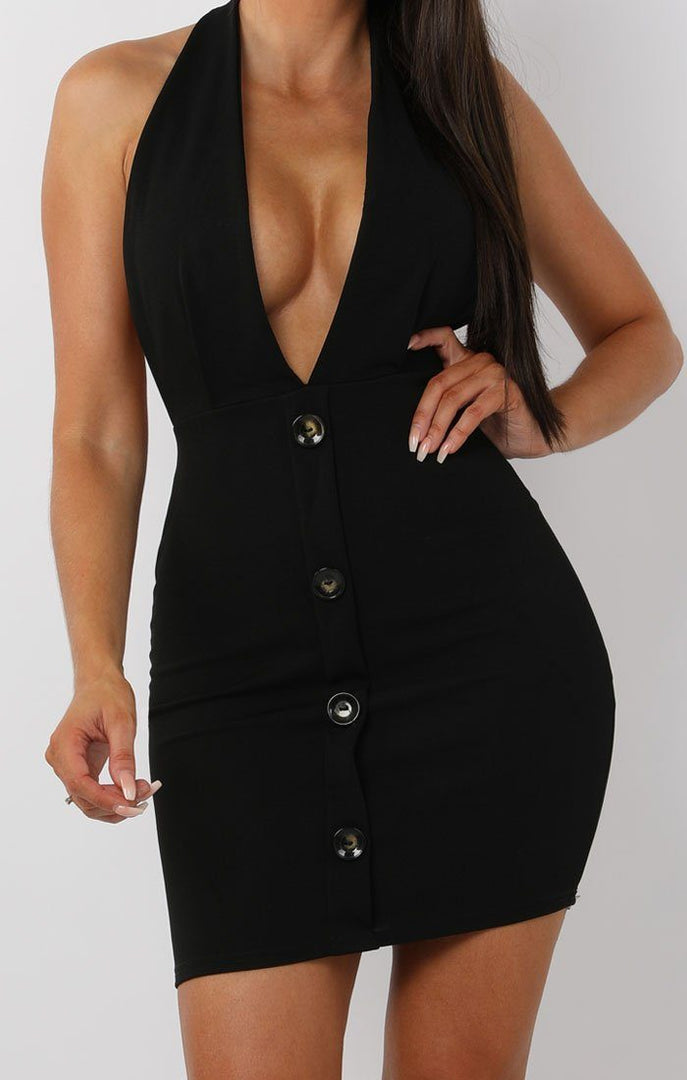 Black Button Plunge Halterneck Mini Dress - Jeanie