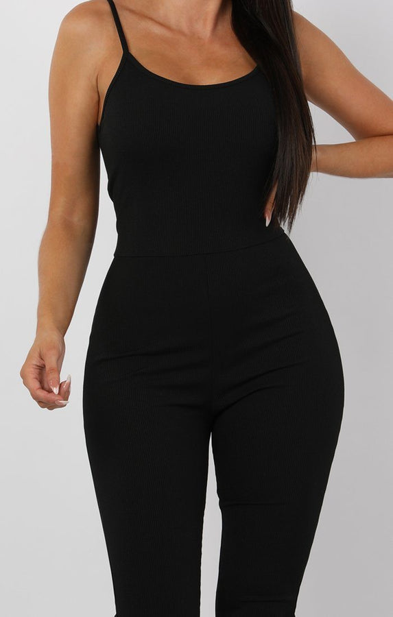 Black Cami Ribbed Jumpsuit - Lolly