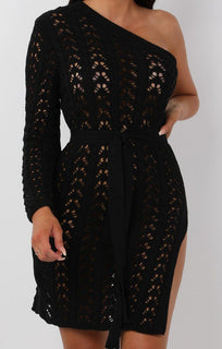 Black Crochet One Shoulder Mini Dress - Deena
