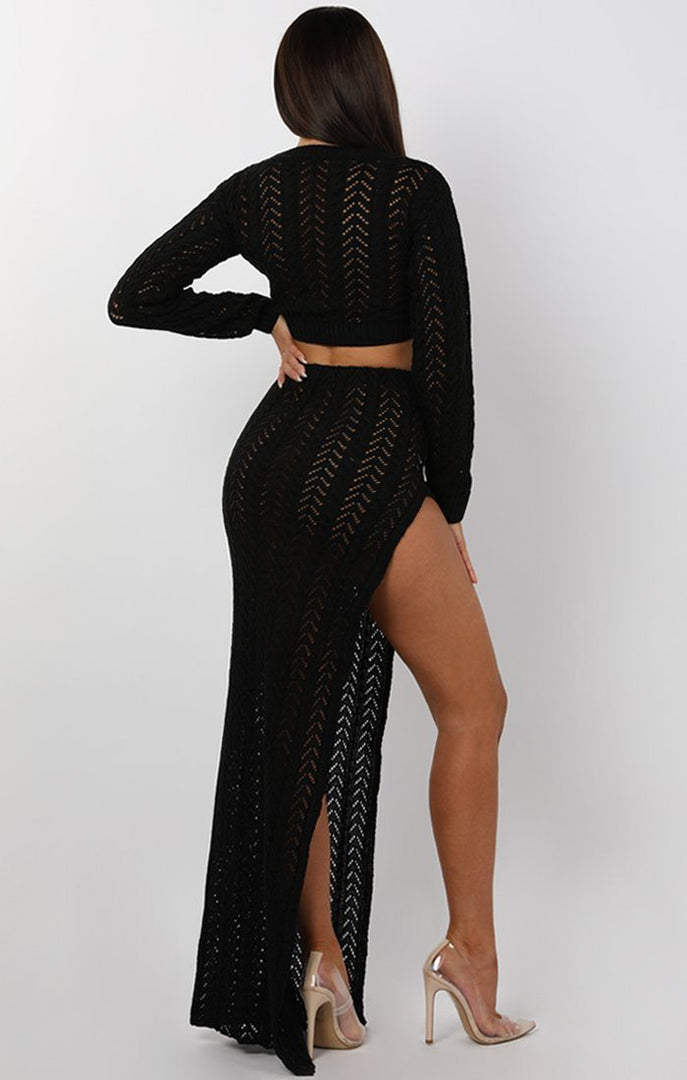Black Crochet Split Leg Maxi High Waist Skirt - Robin