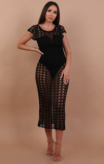 Black Fine Knit Cap Sleeve Maxi Dress - Emma