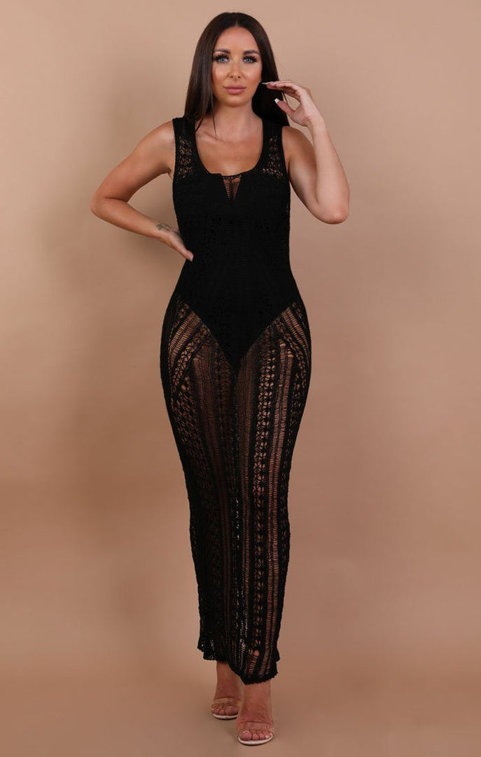 Black Fine Knit Maxi Dress - Paige
