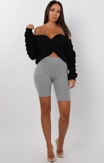Black Front Twist Bobble Stitch Jumper - Avery