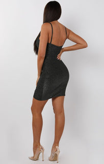Black Glitter Cami Wrap Mini Dress - Carrie