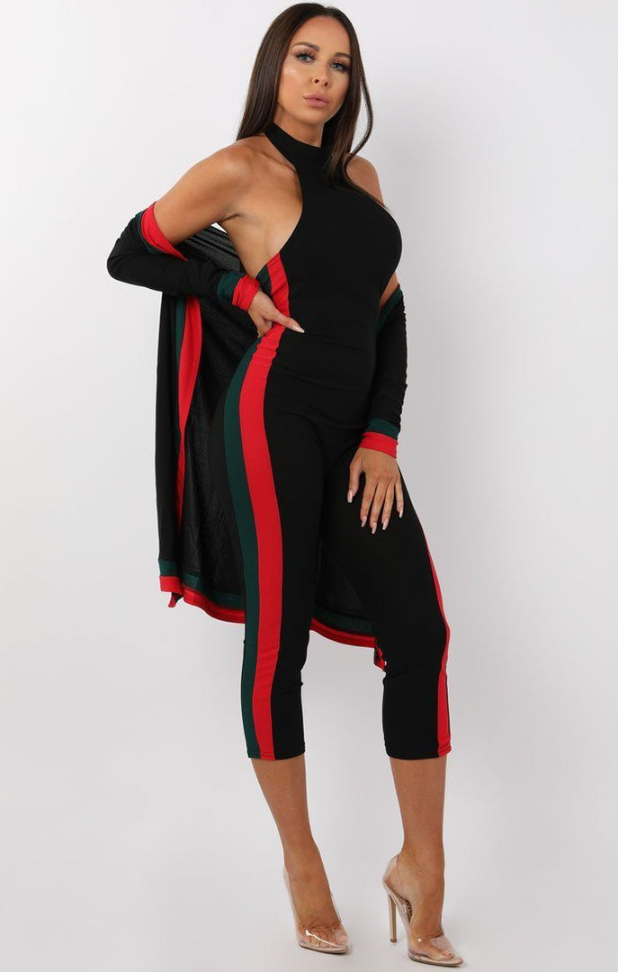 Black Green and Red Two Piece Co-ord Set - Sarah