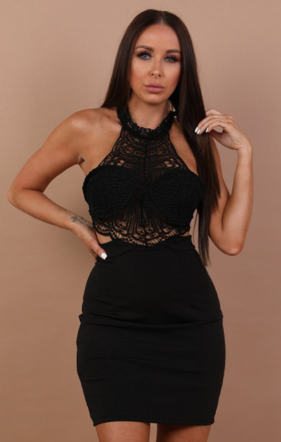 Black High Neck Lace Top Mini Dress - Chyna