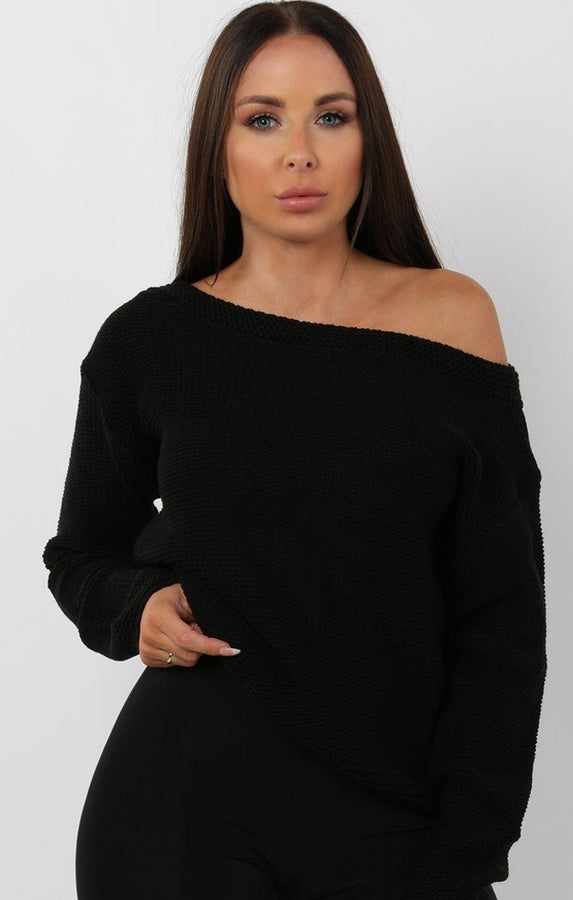 Black Knitted Off Shoulder Jumper - Maria