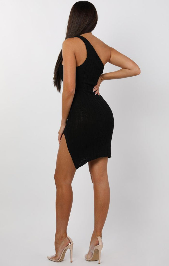 Black Knitted One Shoulder Mini Dress - Sorcha