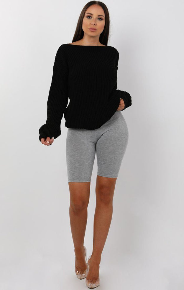 Black Open Neck Jumper - Hayley