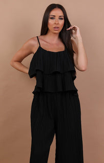 Black Pleated Ruffle Two Piece Co-ord Set - Katerina