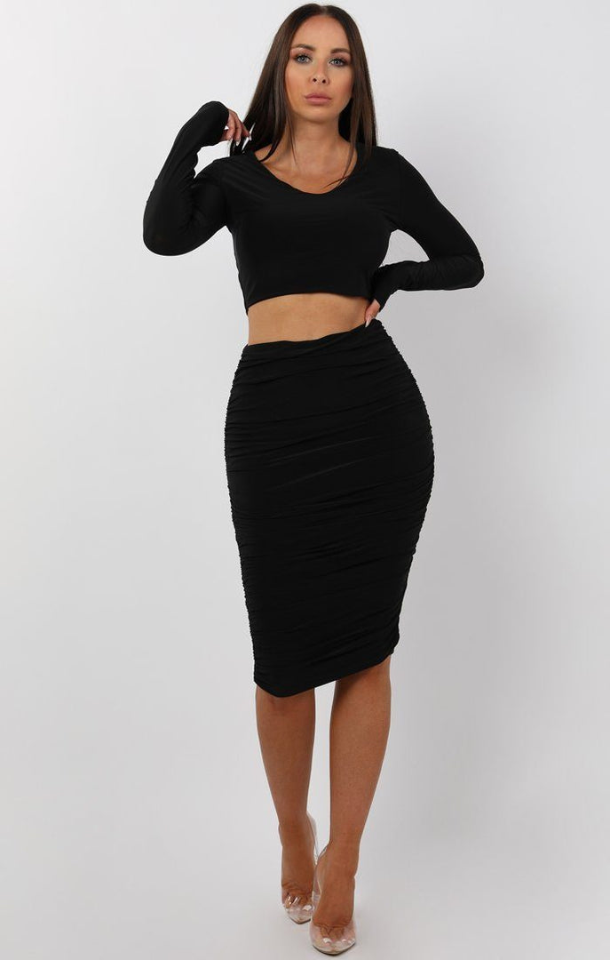 Black Ruched Two Piece Co-ord Set - Alyssa