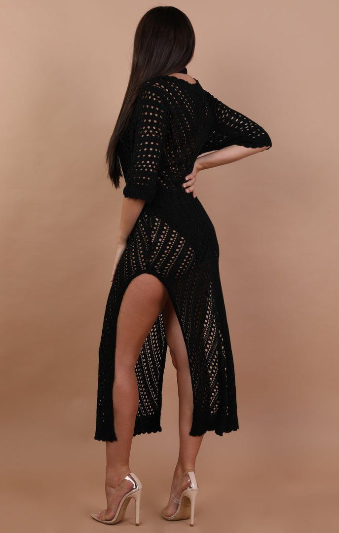 Black Side Split Crochet Maxi Dress - Melody