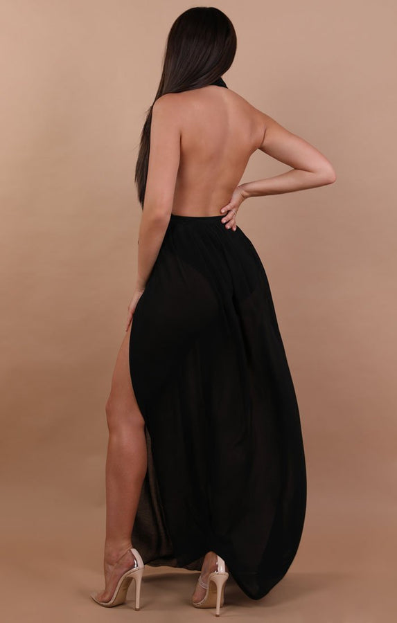 Black Split Leg Mesh Maxi High Waist Skirt - Sinead