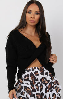 Black Twist Front Long Sleeve Jumper - Lizzy