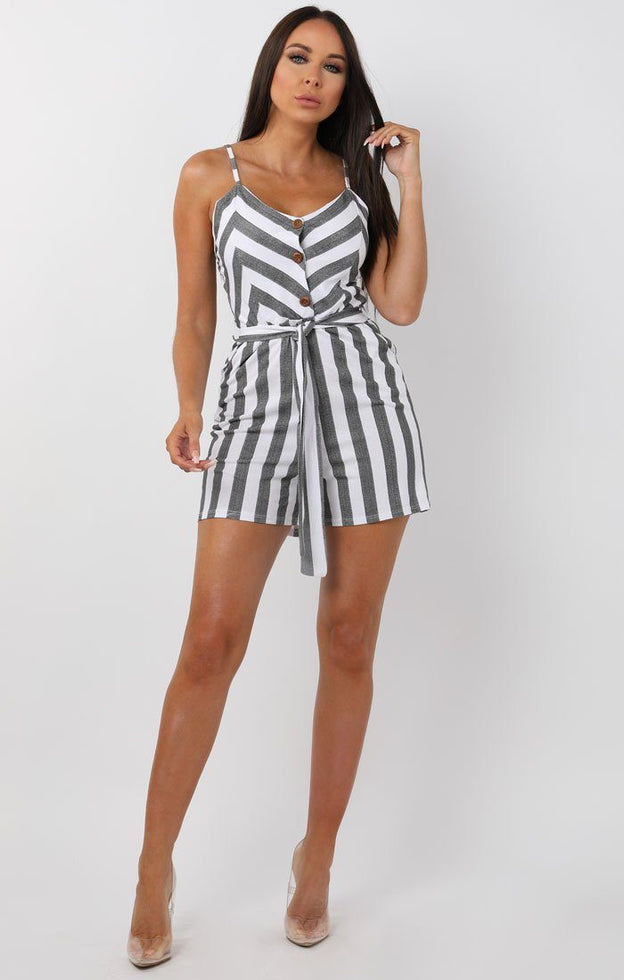 Black and White Striped Cami Playsuit - Chantelle