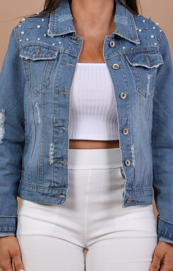 Denim Pearl Detail Distressed Jacket - Isha