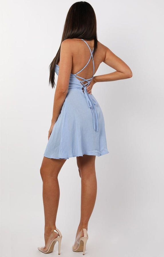 Blue Lace Up Back Dress - Delta