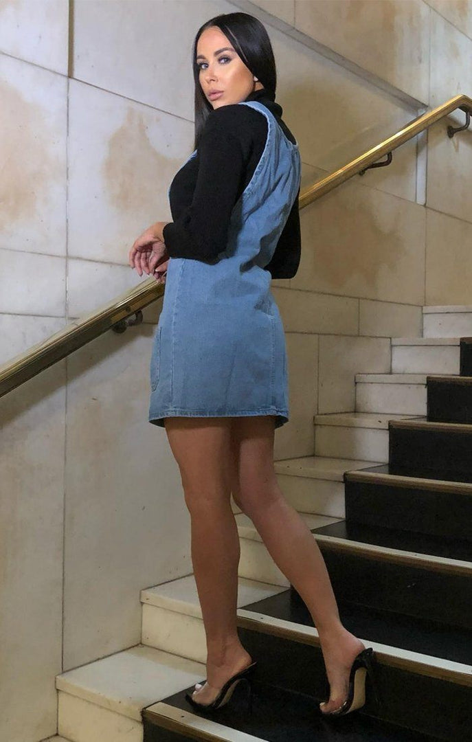 Blue Pockets Denim Pinafore - Ellie